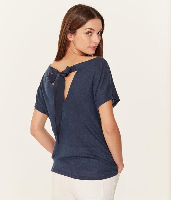 Kurzärmeliges leinen-t-shirt damen blau Haddock