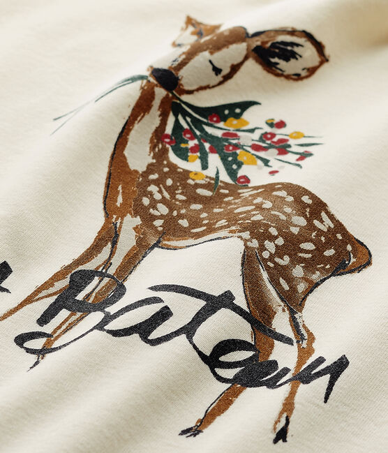 Mädchen-Langarmshirt mit Motiv beige Coquille / rot Froufrou