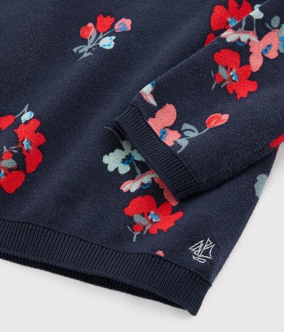 Kinderpullover aus Baumwolle für Mädchen blau Smoking / weiss Multico