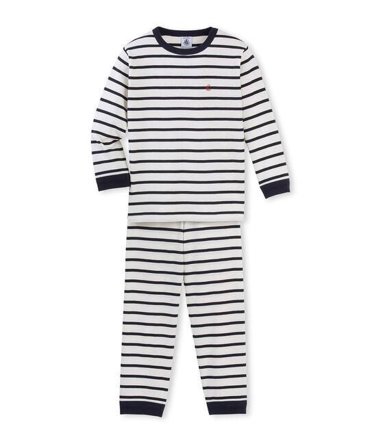 Rippstrick-Pyjama für kleine Jungen beige Coquille / blau Smoking