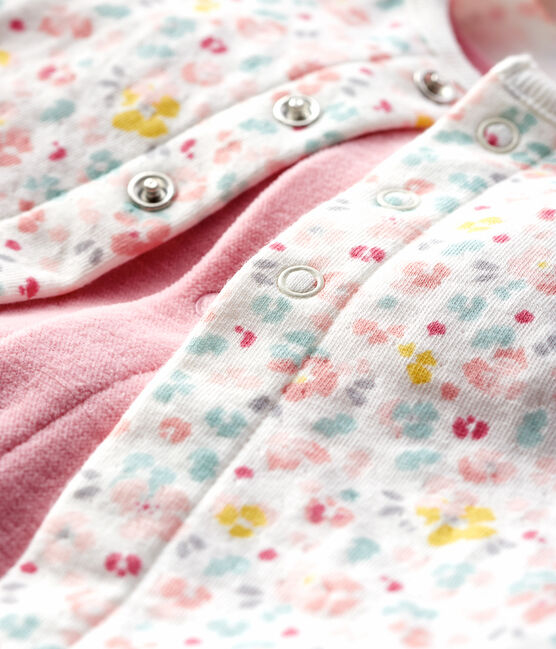 Baby-Zweiteiler aus Velours mit rosa Blumen rosa Charme / weiss Multico