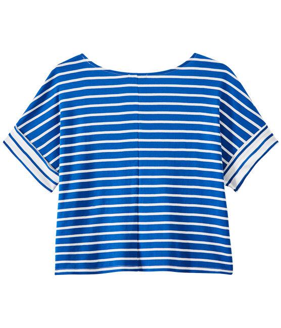 Überschnittenes Damen-T-Shirt mit Streifenmuster blau Perse / weiss Marshmallow