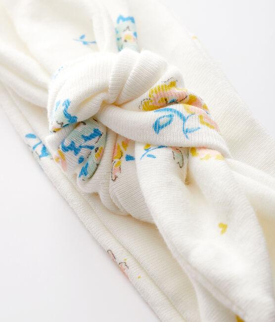 Geblümtes Baby-Haarband aus Rippstrick für Mädchen weiss Marshmallow / weiss Multico