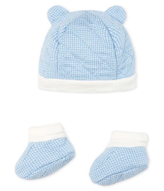 Set mit Mützchen und Babyschuhen aus gestepptem Doppeljersey für Jungen. lot .