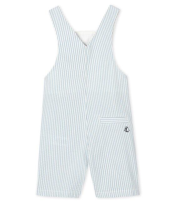 Gestreifte Baby-Kurzlatzhose für Jungen blau Acier / weiss Marshmallow
