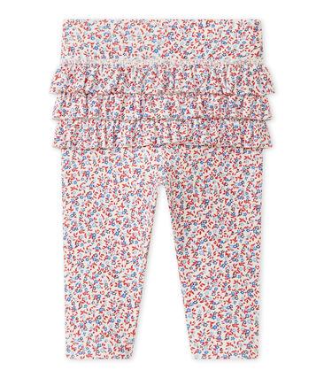 Bedruckte Baby-Mädchen-Leggings weiss Marshmallow / rot Terkuit