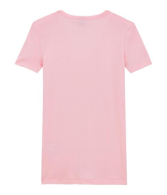 Damen-T-Shirt mit V-Ausschnitt aus Original-Rippstrick rosa Babylone
