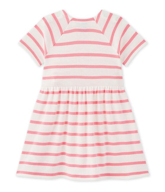 Gestreiftes Baby-Mädchen-Kleid weiss Marshmallow / rosa Petal