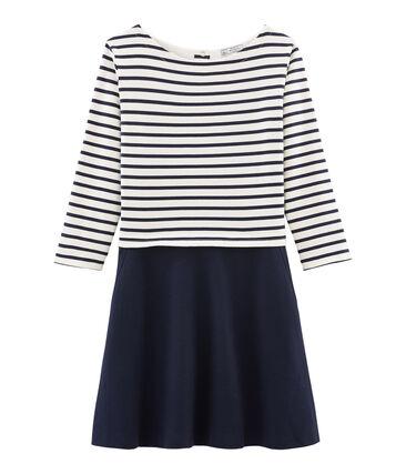 Langärmliges Kleid für Damen blau Smoking / beige Coquille
