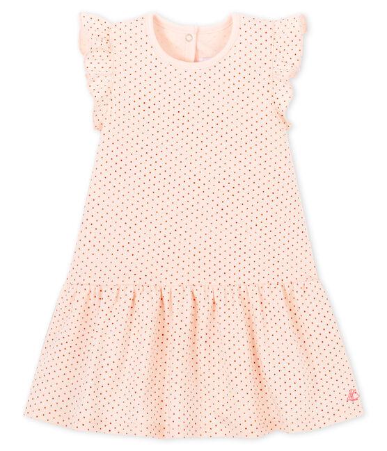 Ärmelloses Baby-Strickkleid für Mädchen rosa Fleur / rosa Copper