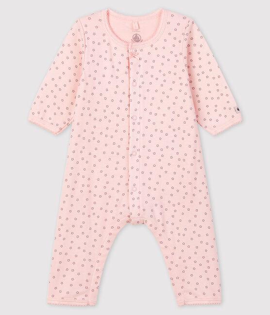 Rosa Bodyjama ohne Füße mit Sternenmotiv aus Rippstrick für Mädchen rosa Fleur / grau Concrete