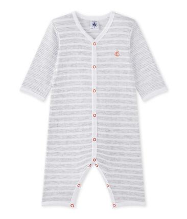 Baby-Jungen-Strampler ohne Fuß grau Poussiere / weiss Ecume