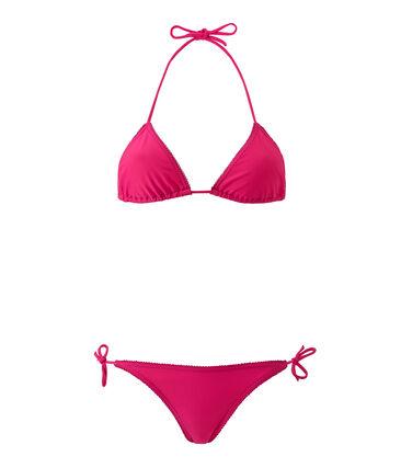Einfarbiger Damen Bikini rosa Petunia