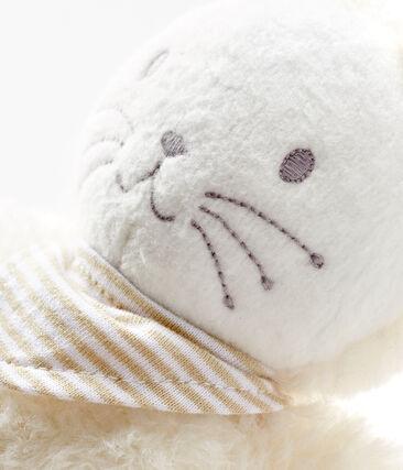 Baby-Kuschelhäschen mit einer eingebauten Spieluhr aus Sherpa weiss Marshmallow