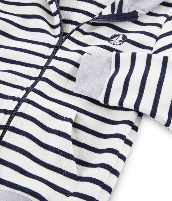 Kinder-Sweatshirt für Jungen weiss Marshmallow / blau Smoking