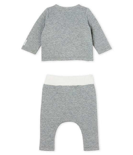 2-teiliges Baby-Set aus gestepptem Doppeljersey grau Subway