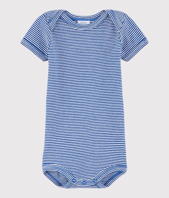 Kurzärmeliger Baby-Body Jungen blau Surf / weiss Lait