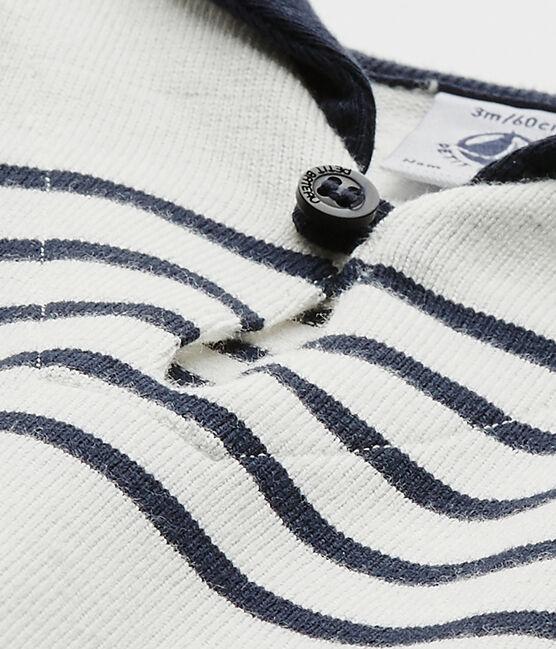 Kurzer Baby-Jungen-Einteiler weiss Marshmallow / blau Smoking