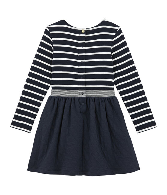 Gestreiftes Mädchen Kleid im Materialmix blau Smoking / weiss Marshmallow
