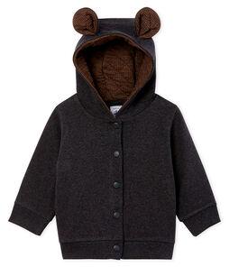 Baby-Kapuzensweatshirt aus geripptem Elasthan für Jungen. grau City Chine