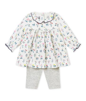 Bedrucktes Baby-Mädchen-Kleid aus gedoppeltem Jersey + Leggings