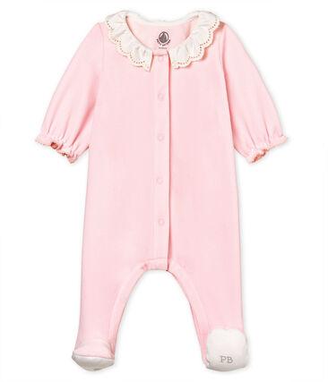 Baby-strampler mädchen aus baumwoll-samt rosa Vienne