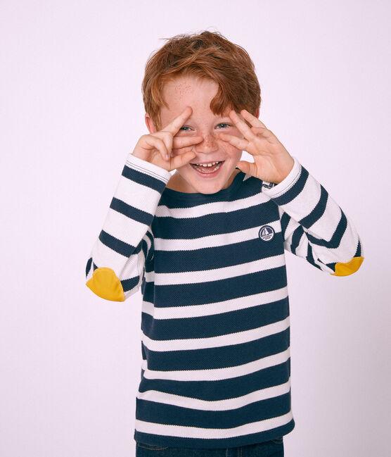 Kinder-Seemannshemd Jungen weiss Marshmallow / blau Smoking