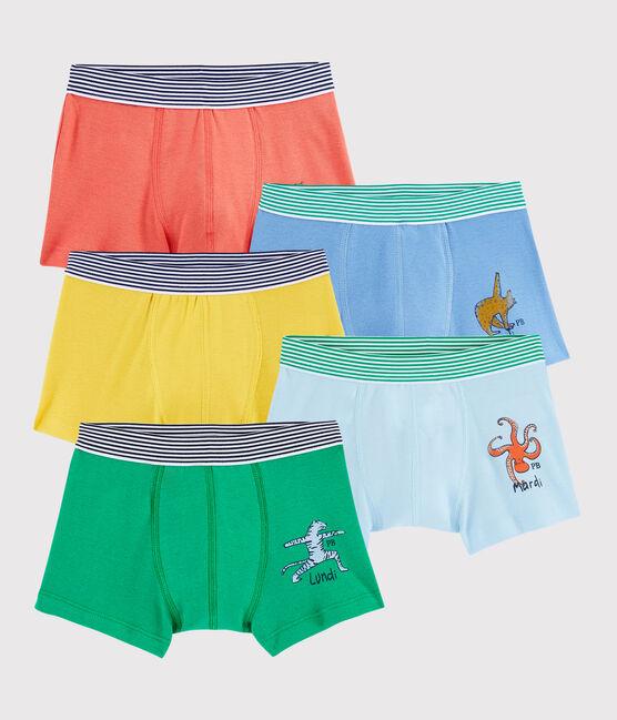 5er-Set Yoga-Boxershorts mit Tiermuster für kleine Jungen lot .