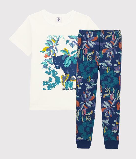 Rippstrick-Pyjama mit Dschungel-Print für kleine Jungen blau Medieval / weiss Multico