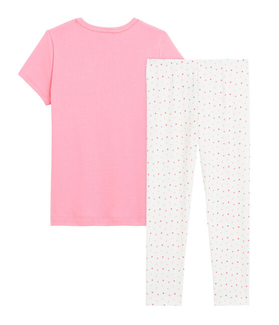 Rippstrick-Pyjama mit Herz, für kleine Mädchen. rosa Petal/ weiss Multico