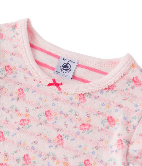 Wendbarer Mädchen-Schlafanzug aus gedoppeltem Jersey rosa Vienne / rosa Rose