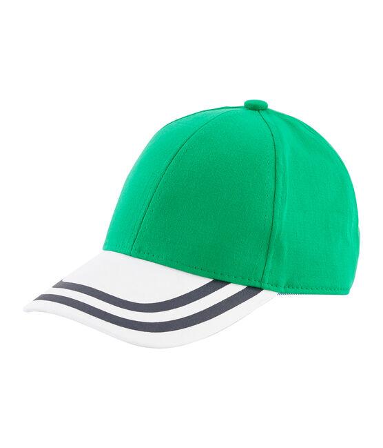 Kinderschirmmütze aus Twill für Jungen grün Prado / weiss Marshmallow