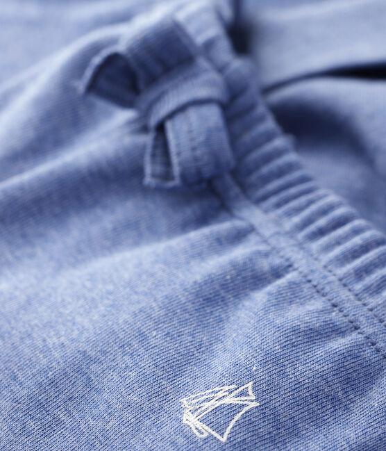 Einfarbige Strick-Babyhose Jungen blau Captain Chine
