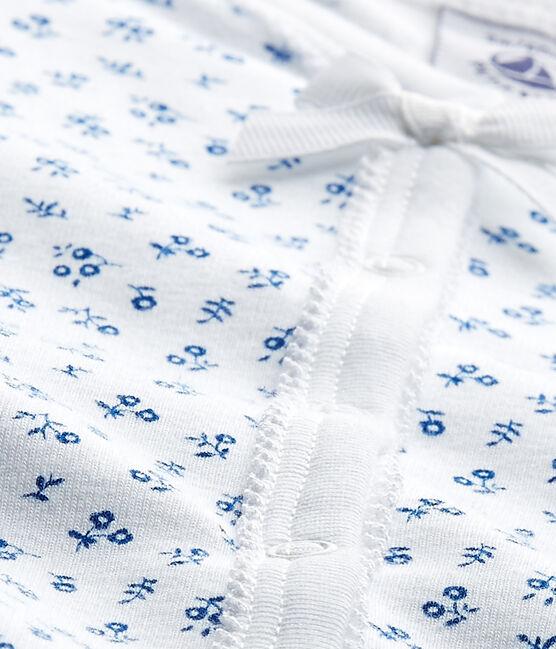 Bedruckter Baby-Mädchen-Strampler weiss Ecume / blau Bleu