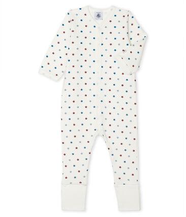 Wendbarer Baby Jungen Strampler mit Fuß weiss Marshmallow / weiss Multico