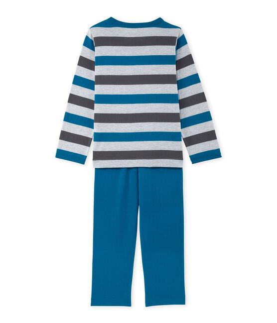 Gestreifter Jungen-Schlafanzug aus Jersey grau Poussiere / grau Maki