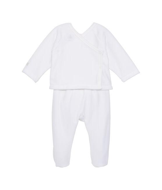 Baby-Ensemble, Unisex, Hemdchen und Hose weiss Ecume / grau Gris