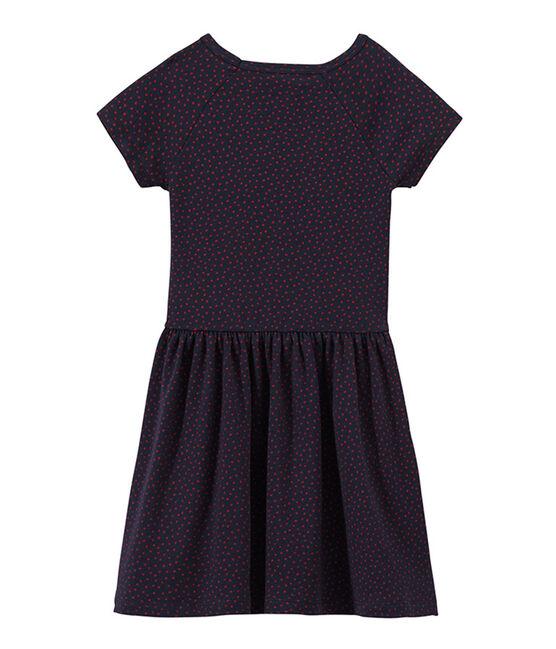 Gepunktetes Mädchen-Kleid weiss Marshmallow / blau Brut