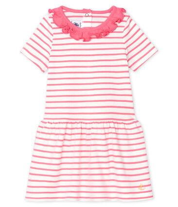 Gestreiftes Baby-Kleid mit Rüschenkragen für Mädchen weiss Marshmallow / rosa Cupcake