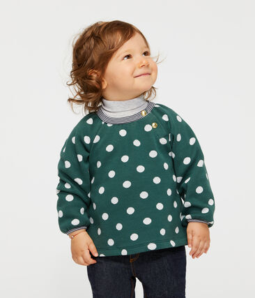 Langärmelige gemusterte Baby-Bluse für Mädchen grün Sousbois / weiss Marshmallow