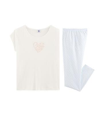 Rippstrick-Pyjama für Mädchen weiss Marshmallow / blau Jasmin