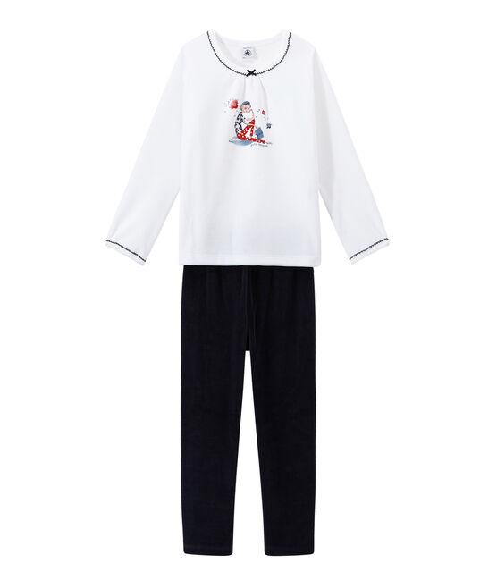 Mädchen-Schlafanzug aus Nicki blau Smoking / weiss Ecume