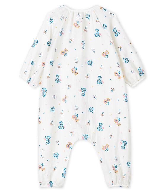 Langoverall mit Blumendruck für Mädchen aus Windelstoff weiss Marshmallow / weiss Multico