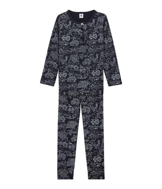 Mädchen Schlafanzug blau Smoking / weiss Ecume