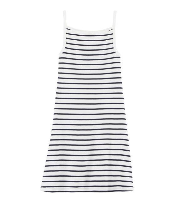 Trägerkleid für Damen weiss Marshmallow / blau Smoking