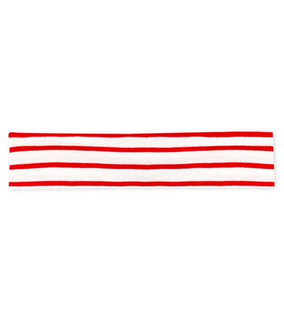 Baby-Haarband Mädchen, gestreift weiss Marshmallow / rot Terkuit