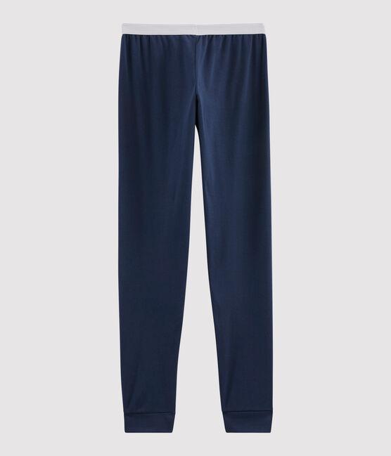 Pyjamahose aus Rippstrick für Jungen blau Haddock