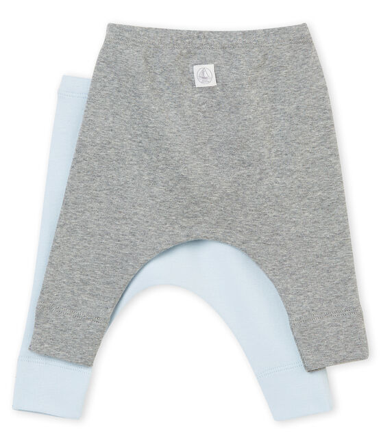 Zwei Unisex Baby Leggings aus angerautem 1x1 Rippstrick in Uni lot .