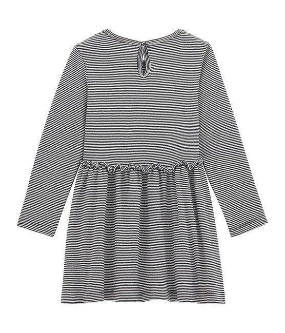 Klassisches Mädchen Kleid blau Smoking / weiss Marshmallow