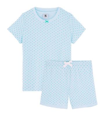 Kurz-Pyjama aus Rippstrick für kleine Mädchen grün Amandier / grün Esperanza Brillant